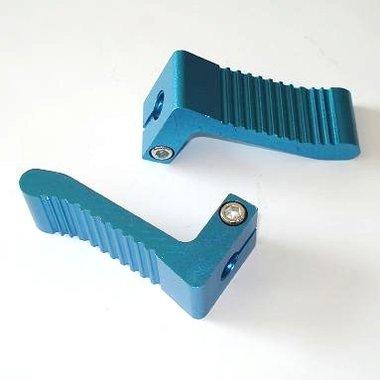 Race Voetsteunen - Hoge Grip! - Geanodiseerd Aluminium, kleur: blauw