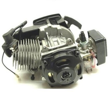 Compleet 47cc / 49cc motorblok met carburateur, KUNSTSTOF trekstarter en koppelingshuis voor DUNNE ketting!