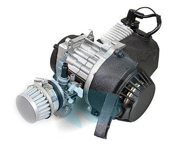 Compleet 47cc / 49cc motorblok met carburateur, ALUMINIUM trekstarter, koppelingshuis voor DUNNE ketting!
