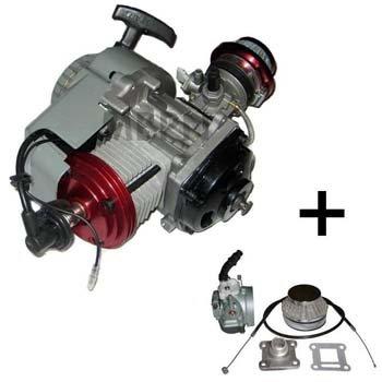 GETUNED: Compleet 47cc / 49cc motorblok met BigBore cilinder en HOGEDRUK kop, dellorto imi carburateur, aluminium trekstarter en koppelingshuis voor DUNNE ketting!