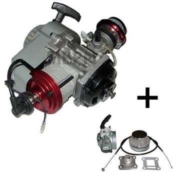 GETUNED: Compleet 47cc / 49cc motorblok met BigBore cilinder en HOGEDRUK kop, dellorto imi carburateur, aluminium trekstarter en koppelingshuis voor DIKKE ketting!