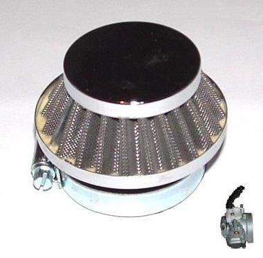 Race Luchtfilter - voor de Dellorto imi (14mm) carburateur - bevestigingsdiameter: 58mm - kleur: ZILVER